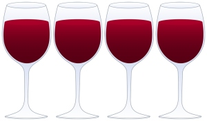 four red wine glasses